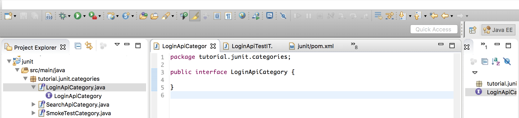 Structuring integration tests using JUnit categories by