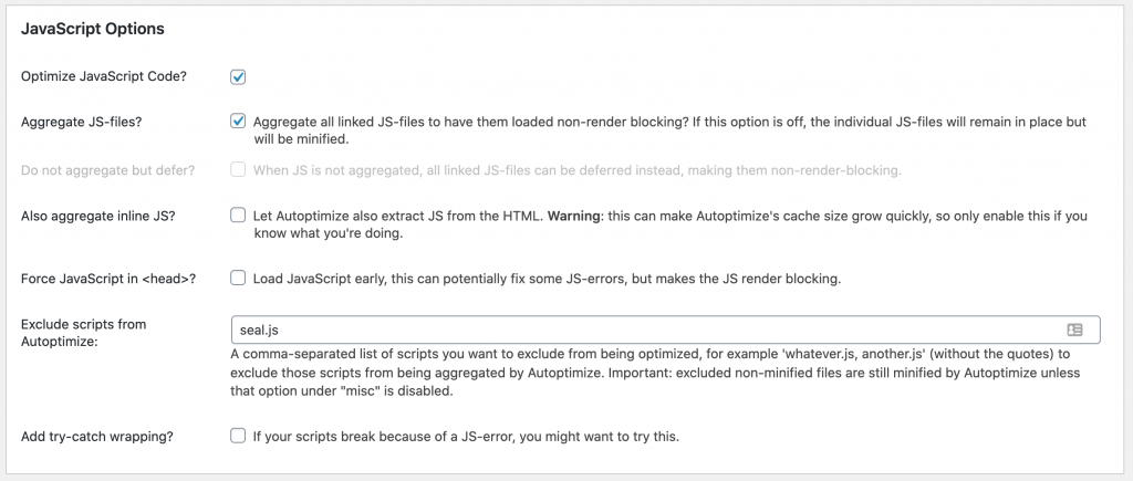 Autoptimize JavaScript Options